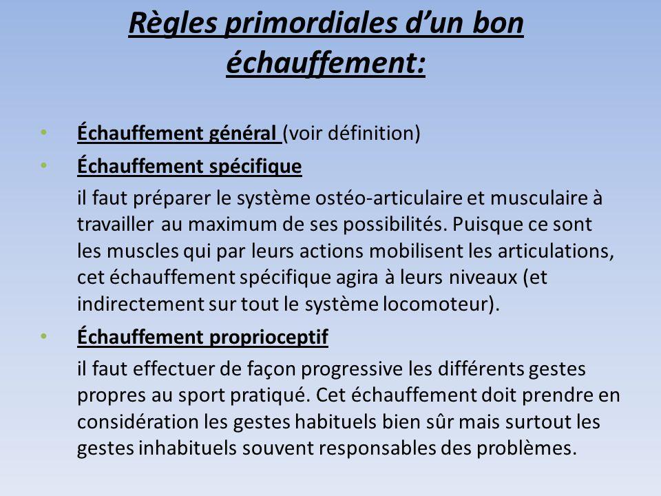 Règles primordiales d'un bon échauffement: Échauffement général (voir définition) Échauffement spécifique il faut préparer le système ostéo-articulaire et musculaire à travailler au maximum de ses possibilités.