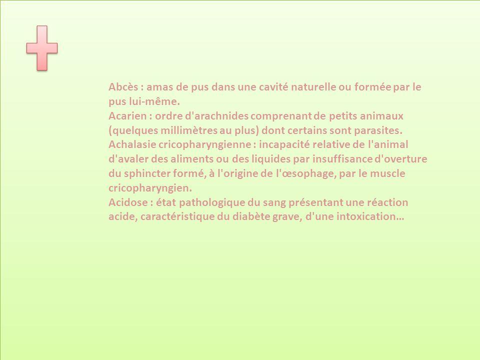 Abcès : amas de pus dans une cavité naturelle ou formée par le pus lui-même. Acarien : ordre d'arachnides comprenant de petits animaux (quelques milli