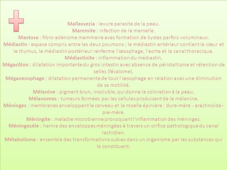 Mallassezia : levure parasite de la peau. Mammite : infection de la mamelle. Mastose : fibro-adénome mammaire avec formation de kystes parfois volumin