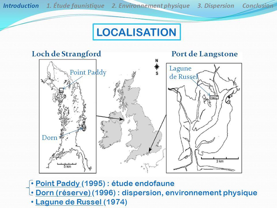 LOCALISATION Loch de Strangford Dorn Port de Langstone Lagune de Russel Point Paddy Point Paddy (1995) : étude endofaune Dorn (réserve) (1996) : dispe