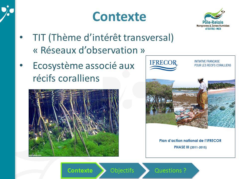 Objectifs Contexte TIT (Thème d'intérêt transversal) « Réseaux d'observation » Ecosystème associé aux récifs coralliens Contexte Questions