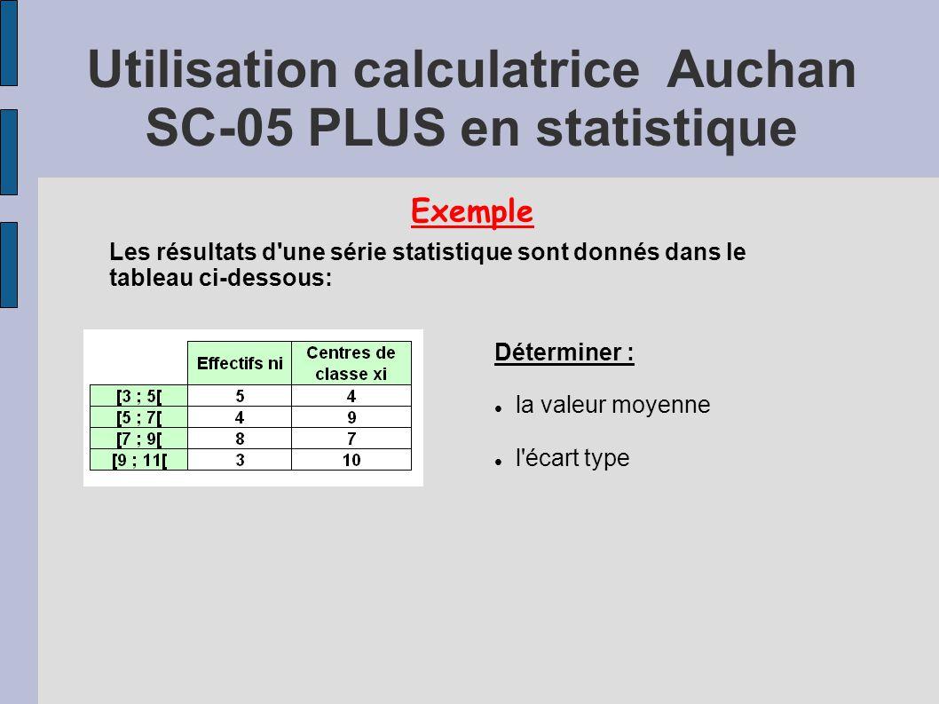 Exemple Les résultats d'une série statistique sont donnés dans le tableau ci-dessous: Déterminer : la valeur moyenne l'écart type Utilisation calculat