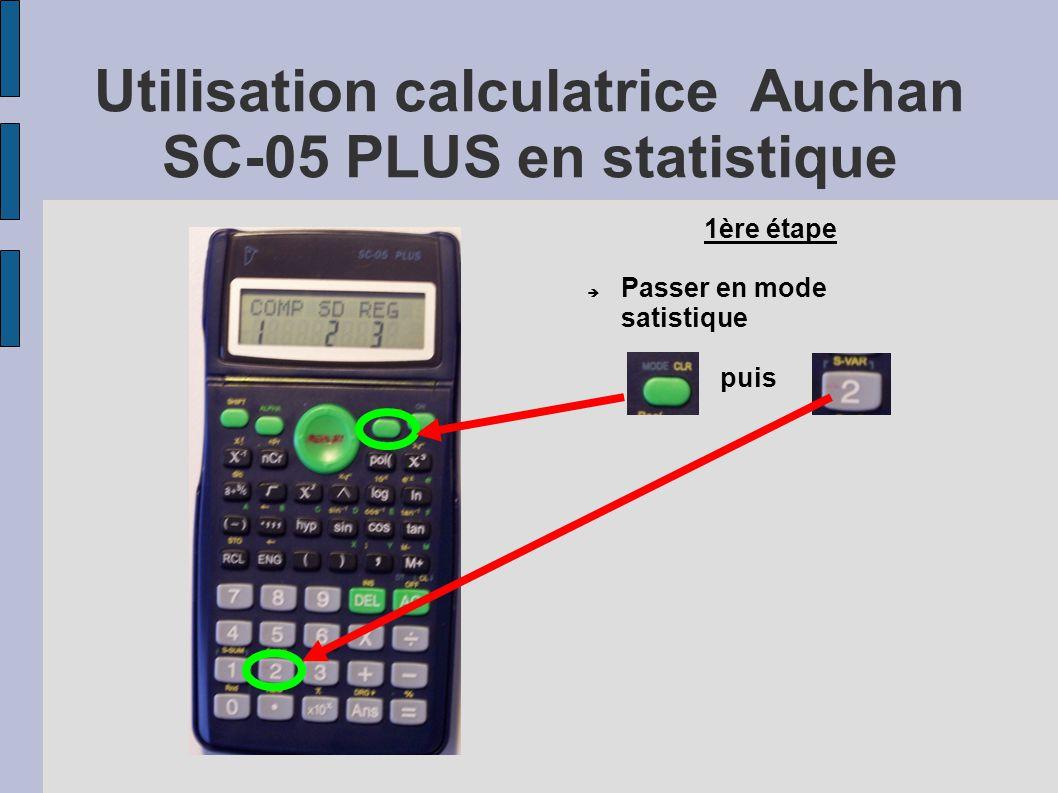 Utilisation calculatrice Auchan SC-05 PLUS en statistique 1ère étape  Passer en mode satistique puis