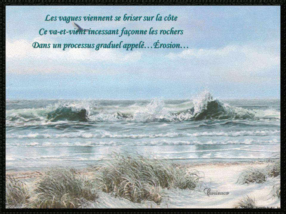 Les vagues viennent se briser sur la côte Ce va-et-vient incessant façonne les rochers Dans un processus graduel appelé…Érosion…