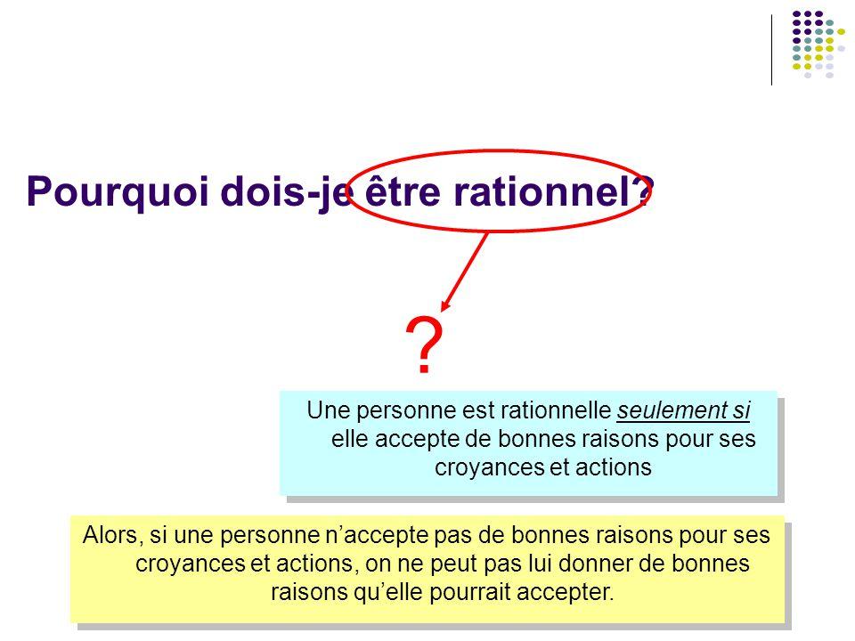 Pourquoi dois-je être rationnel? Une personne est rationnelle seulement si elle accepte de bonnes raisons pour ses croyances et actions ? Alors, si un