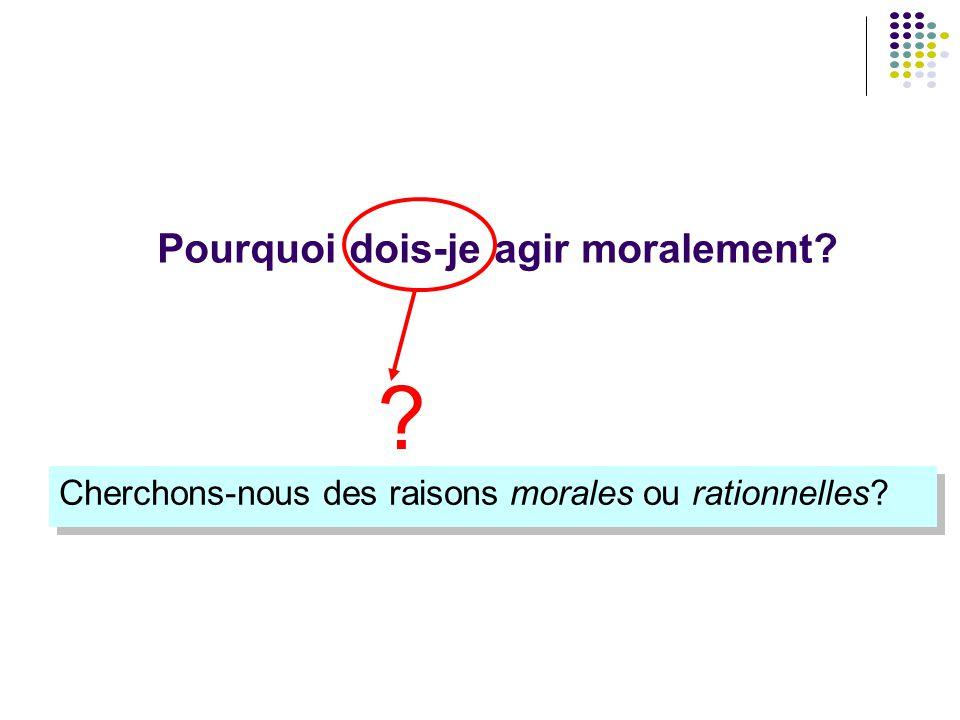 Pourquoi dois-je agir moralement? Cherchons-nous des raisons morales ou rationnelles? ?