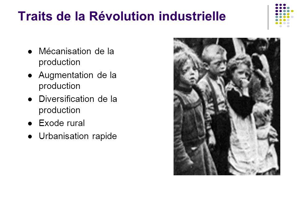 Traits de la Révolution industrielle Mécanisation de la production Augmentation de la production Diversification de la production Exode rural Urbanisa