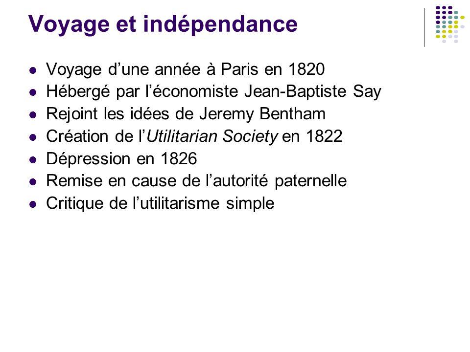 Voyage et indépendance Voyage d'une année à Paris en 1820 Hébergé par l'économiste Jean-Baptiste Say Rejoint les idées de Jeremy Bentham Création de l