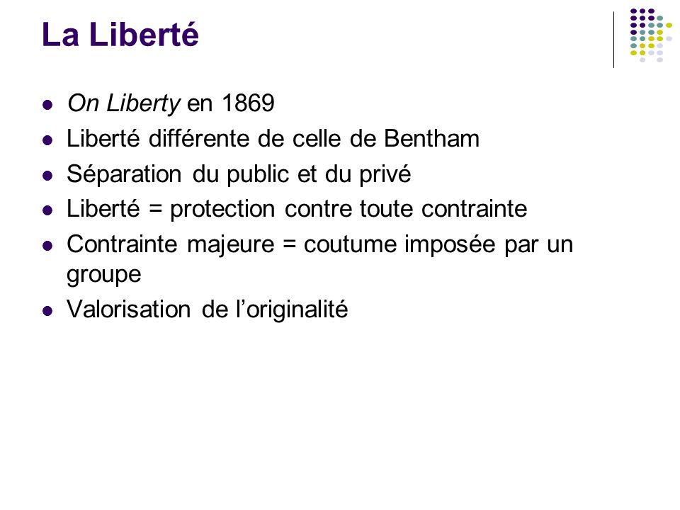 La Liberté On Liberty en 1869 Liberté différente de celle de Bentham Séparation du public et du privé Liberté = protection contre toute contrainte Con