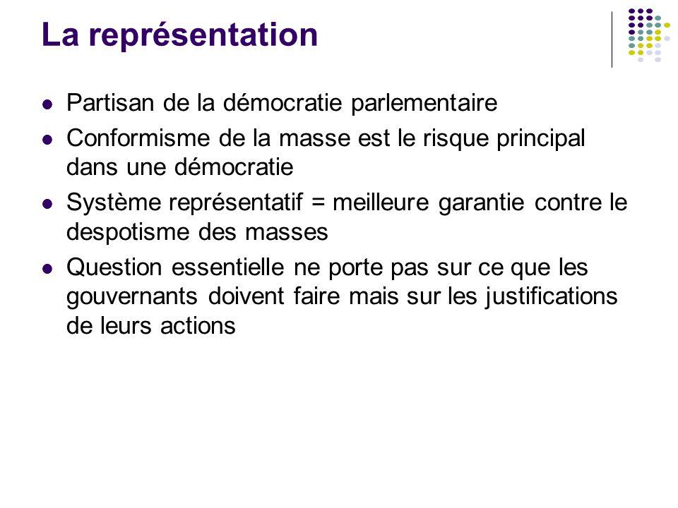 La représentation Partisan de la démocratie parlementaire Conformisme de la masse est le risque principal dans une démocratie Système représentatif =