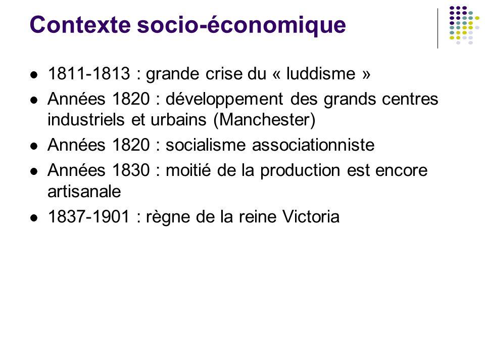 Contexte socio-économique 1811-1813 : grande crise du « luddisme » Années 1820 : développement des grands centres industriels et urbains (Manchester)