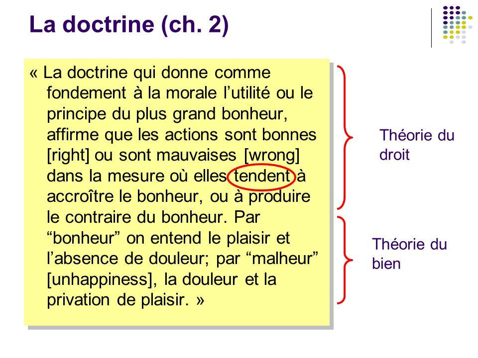 La doctrine (ch. 2) « La doctrine qui donne comme fondement à la morale l'utilité ou le principe du plus grand bonheur, affirme que les actions sont b