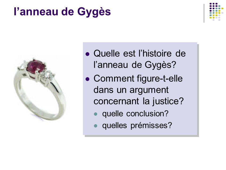 l'anneau de Gygès Quelle est l'histoire de l'anneau de Gygès? Comment figure-t-elle dans un argument concernant la justice? quelle conclusion? quelles