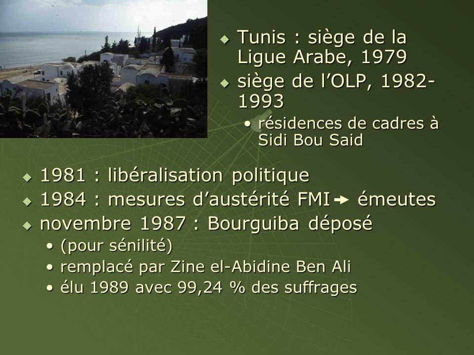  1981 : libéralisation politique  1984 : mesures d'austérité FMI émeutes  novembre 1987 : Bourguiba déposé (pour sénilité)(pour sénilité) remplacé par Zine el-Abidine Ben Aliremplacé par Zine el-Abidine Ben Ali élu 1989 avec 99,24 % des suffragesélu 1989 avec 99,24 % des suffrages  Tunis : siège de la Ligue Arabe, 1979  siège de l'OLP, 1982- 1993 résidences de cadres à Sidi Bou Said
