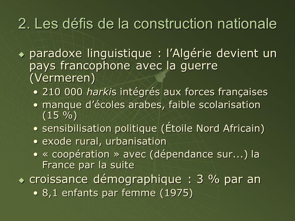 2. Les défis de la construction nationale  paradoxe linguistique : l'Algérie devient un pays francophone avec la guerre (Vermeren) 210 000 harkis int