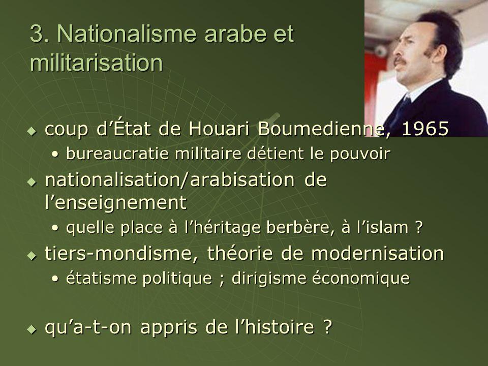 3. Nationalisme arabe et militarisation  coup d'État de Houari Boumedienne, 1965 bureaucratie militaire détient le pouvoirbureaucratie militaire déti