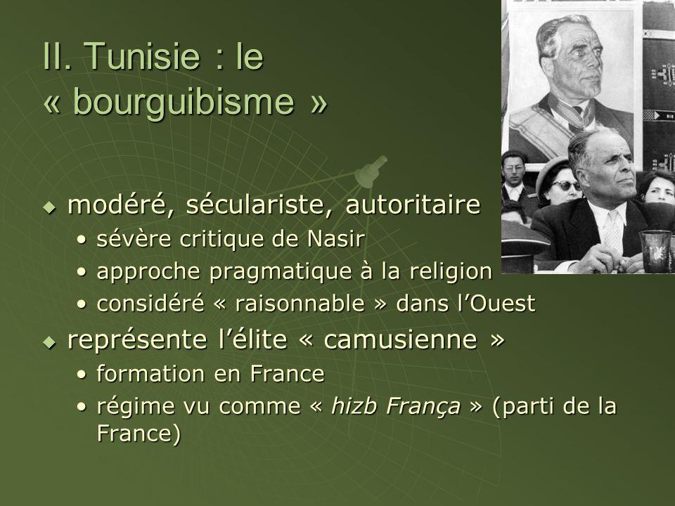 II. Tunisie : le « bourguibisme »  modéré, séculariste, autoritaire sévère critique de Nasirsévère critique de Nasir approche pragmatique à la religi