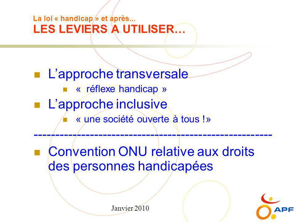Janvier 2010 La loi « handicap » et après... LES LEVIERS A UTILISER… L'approche transversale « réflexe handicap » L'approche inclusive « une société o