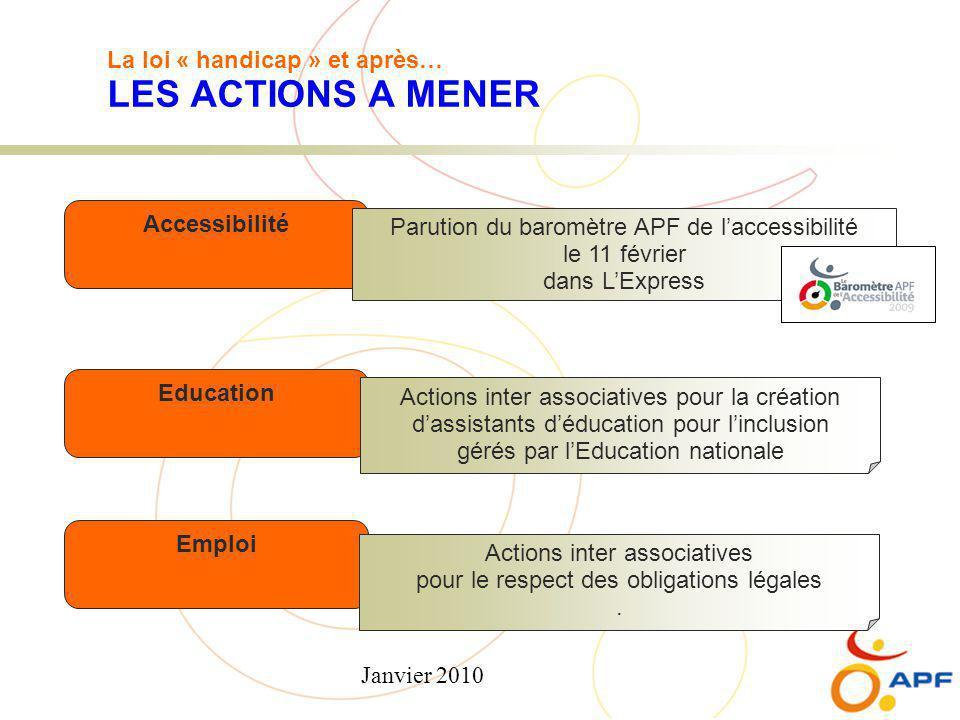 Janvier 2010 La loi « handicap » et après… LES ACTIONS A MENER Accessibilité Education Emploi Parution du baromètre APF de l'accessibilité le 11 févri