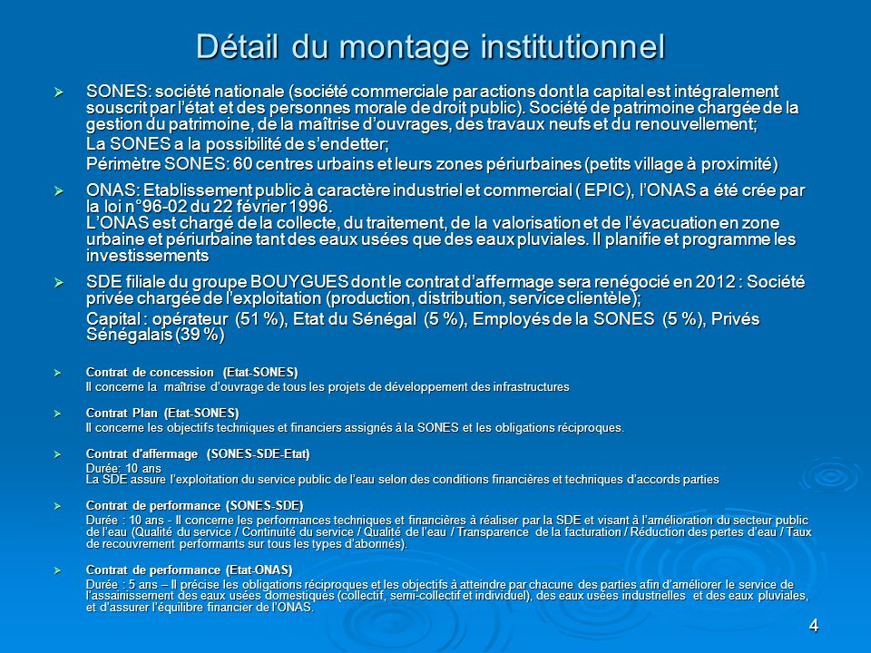 4 Détail du montage institutionnel  SONES: société nationale (société commerciale par actions dont la capital est intégralement souscrit par l'état e