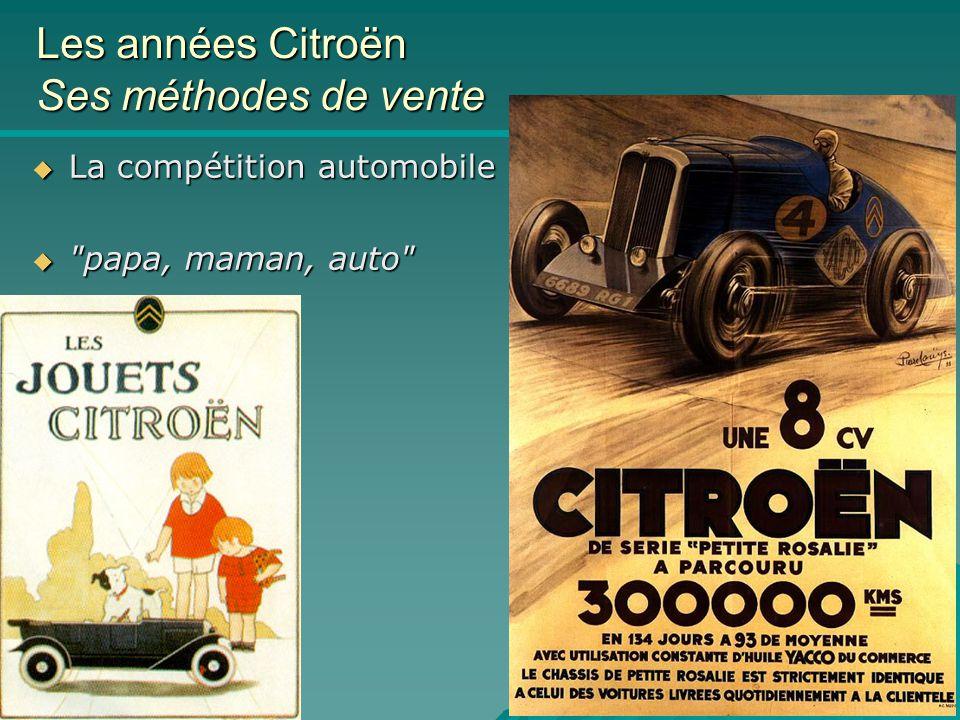 Citroën & Co ICAM 8/11/04 Les années Citroën Ses méthodes de vente  La compétition automobile  papa, maman, auto
