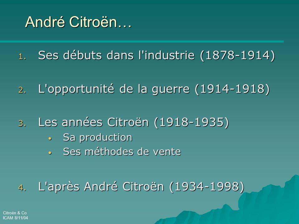 ICAM 8/11/04 André Citroën… 1.Ses débuts dans l industrie (1878-1914) 2.