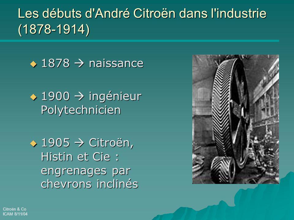Citroën & Co ICAM 8/11/04 Les débuts d André Citroën dans l industrie (1878-1914)  1878  naissance  1900  ingénieur Polytechnicien  1905  Citroën, Histin et Cie : engrenages par chevrons inclinés