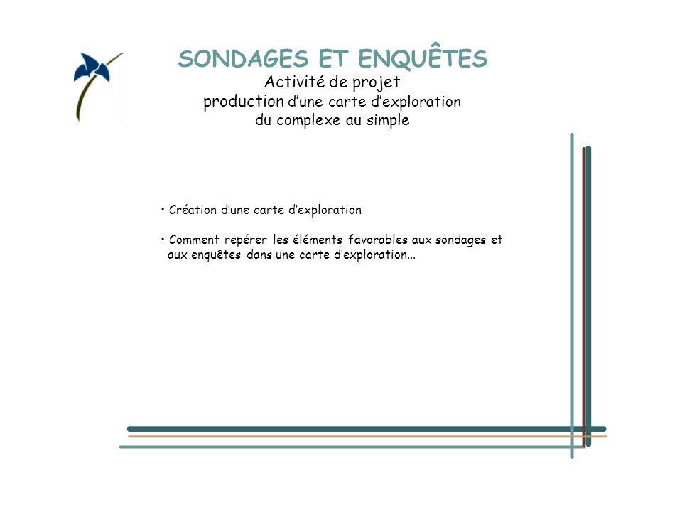 SONDAGES ET ENQUÊTES Activité de projet production d'une carte d'exploration du complexe au simple Création d'une carte d'exploration Comment repérer