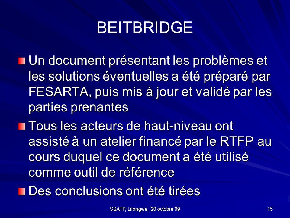 15 BEITBRIDGE Un document présentant les problèmes et les solutions éventuelles a été préparé par FESARTA, puis mis à jour et validé par les parties prenantes Tous les acteurs de haut-niveau ont assisté à un atelier financé par le RTFP au cours duquel ce document a été utilisé comme outil de référence Des conclusions ont été tirées SSATP, Lilongwe, 20 octobre 09