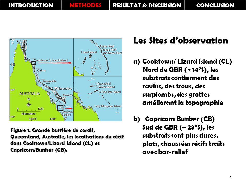 INTRODUCTIONMETHODESRESULTAT & DISCUSSIONCONCLUSION Les Sites d'observation a)Cooktown/ Lizard Island (CL) Nord de GBR (~ 14°S), les substrats contiennent des ravins, des trous, des surplombs, des grottes améliorant la topographie b) Capricorn Bunker (CB) Sud de GBR (~ 23°S), les substrats sont plus dures, plats, chaussées récifs traits avec bas-relief Figure 1.