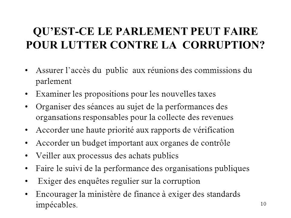 10 QU'EST-CE LE PARLEMENT PEUT FAIRE POUR LUTTER CONTRE LA CORRUPTION.