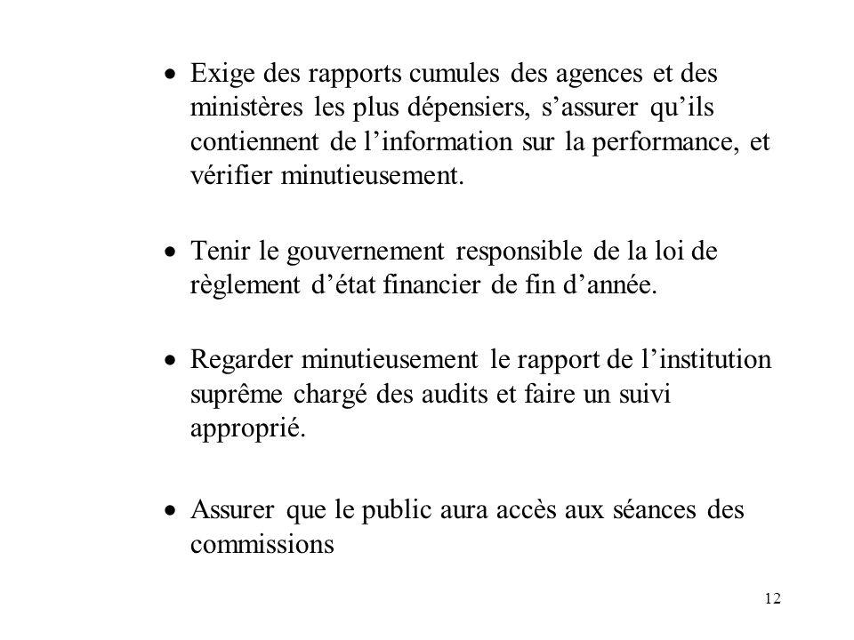 12  Exige des rapports cumules des agences et des ministères les plus dépensiers, s'assurer qu'ils contiennent de l'information sur la performance, et vérifier minutieusement.