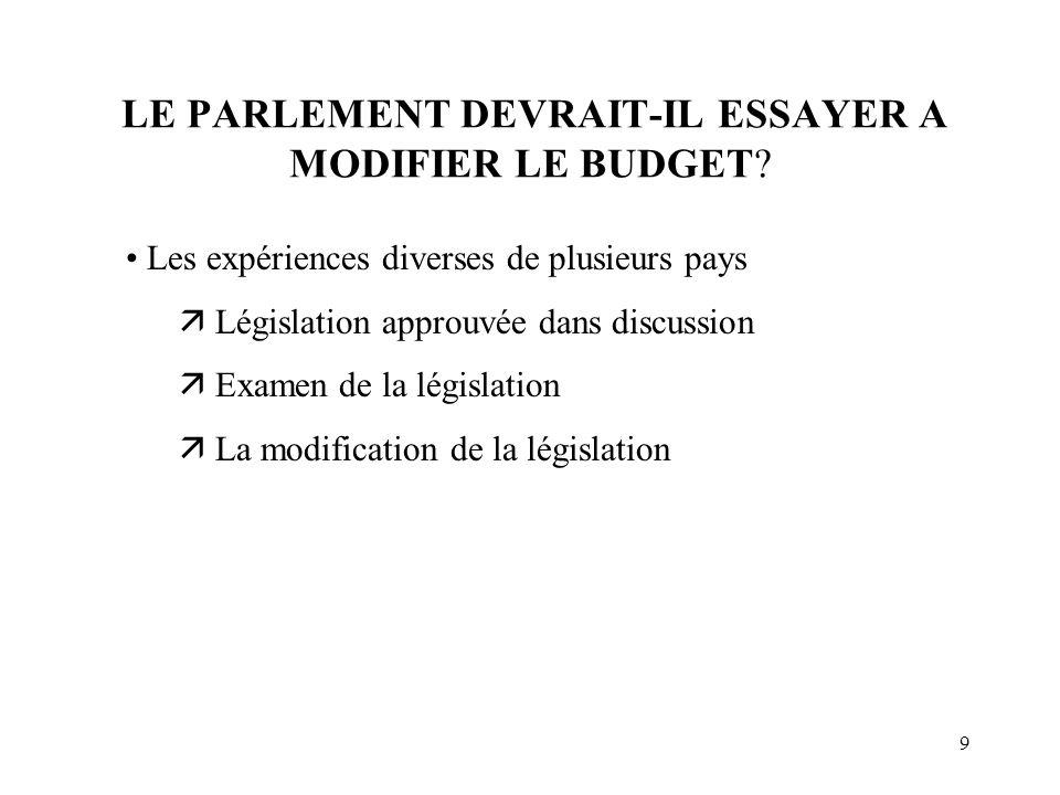 9 LE PARLEMENT DEVRAIT-IL ESSAYER A MODIFIER LE BUDGET.