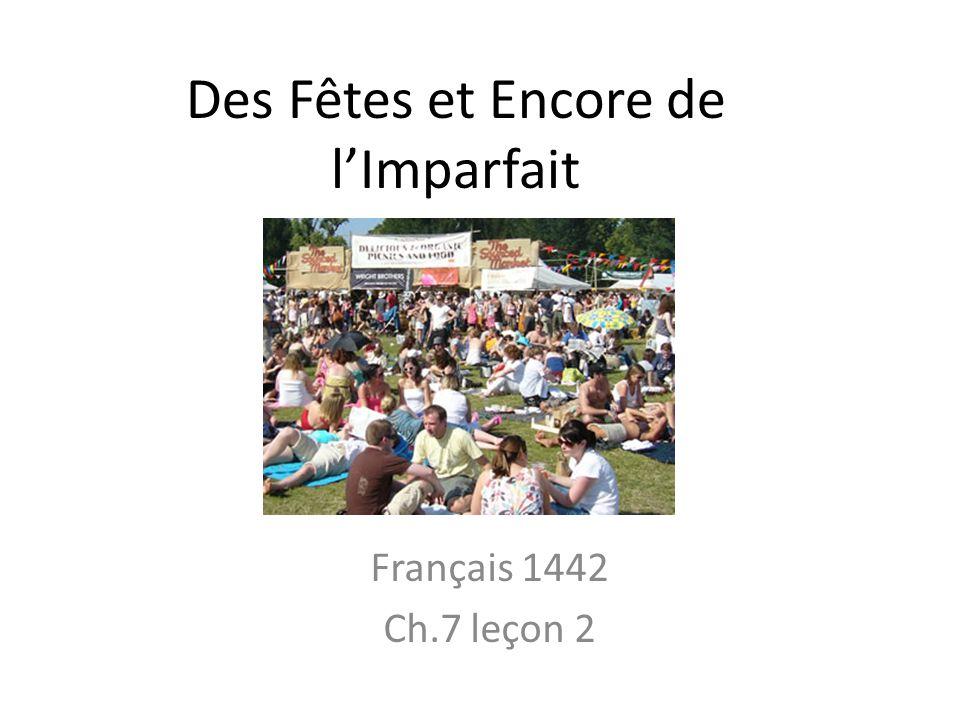 Des Fêtes et Encore de l'Imparfait Français 1442 Ch.7 leçon 2
