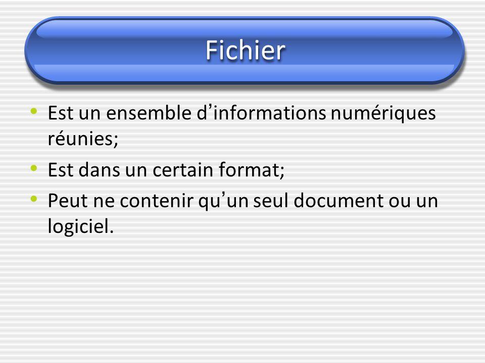 Fichier Est un ensemble d ' informations numériques réunies; Est dans un certain format; Peut ne contenir qu ' un seul document ou un logiciel.