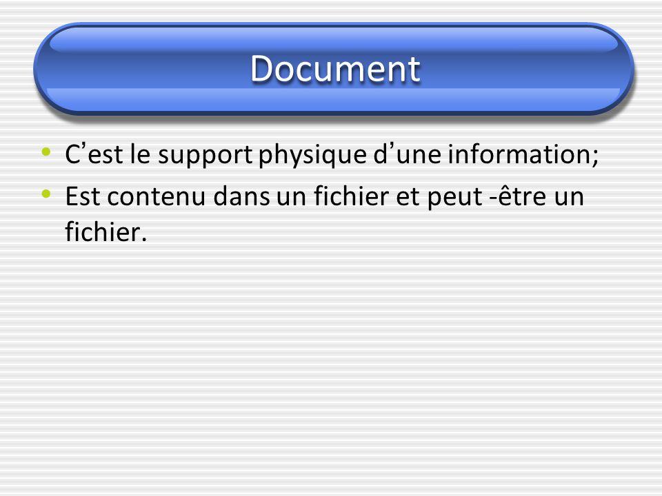 Document C ' est le support physique d ' une information; Est contenu dans un fichier et peut -être un fichier.