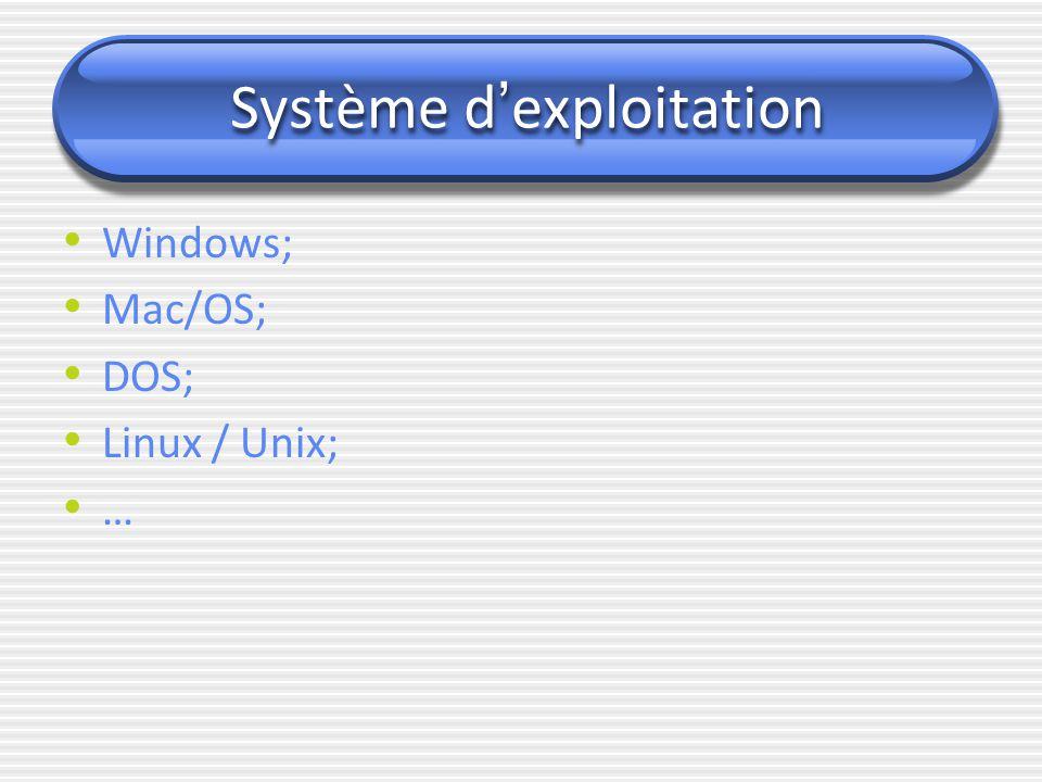 Système d ' exploitation Windows; Mac/OS; DOS; Linux / Unix; …