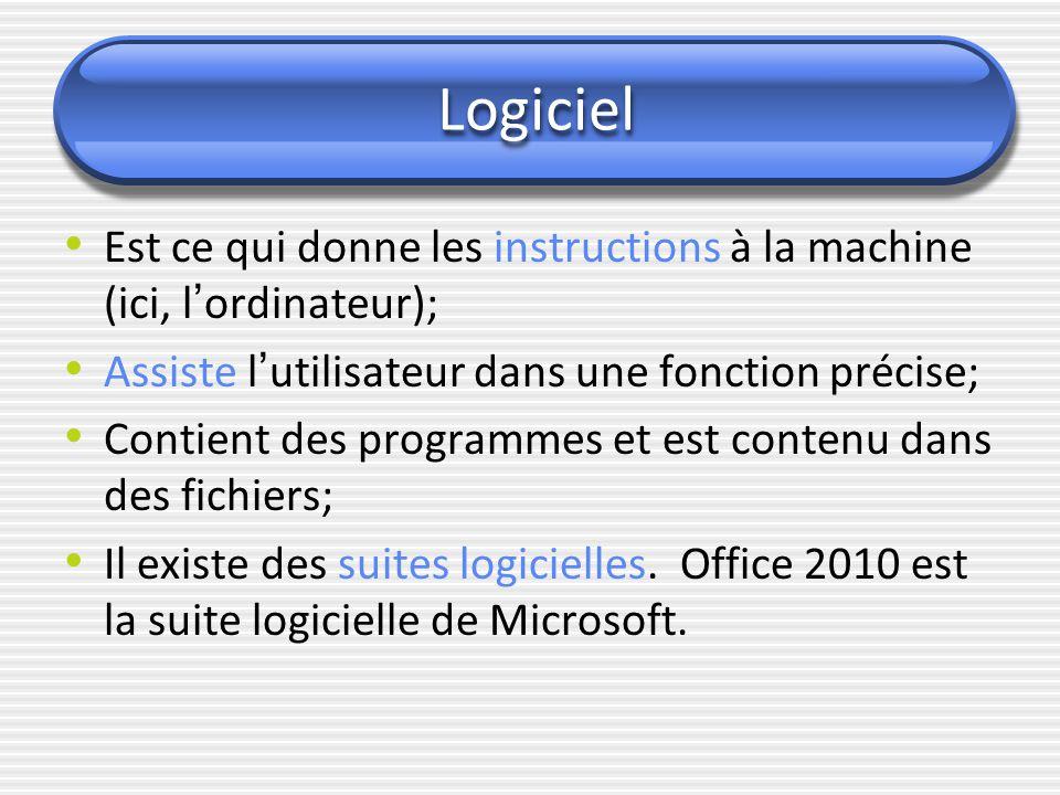 Logiciel Est ce qui donne les instructions à la machine (ici, l ' ordinateur); Assiste l ' utilisateur dans une fonction précise; Contient des program