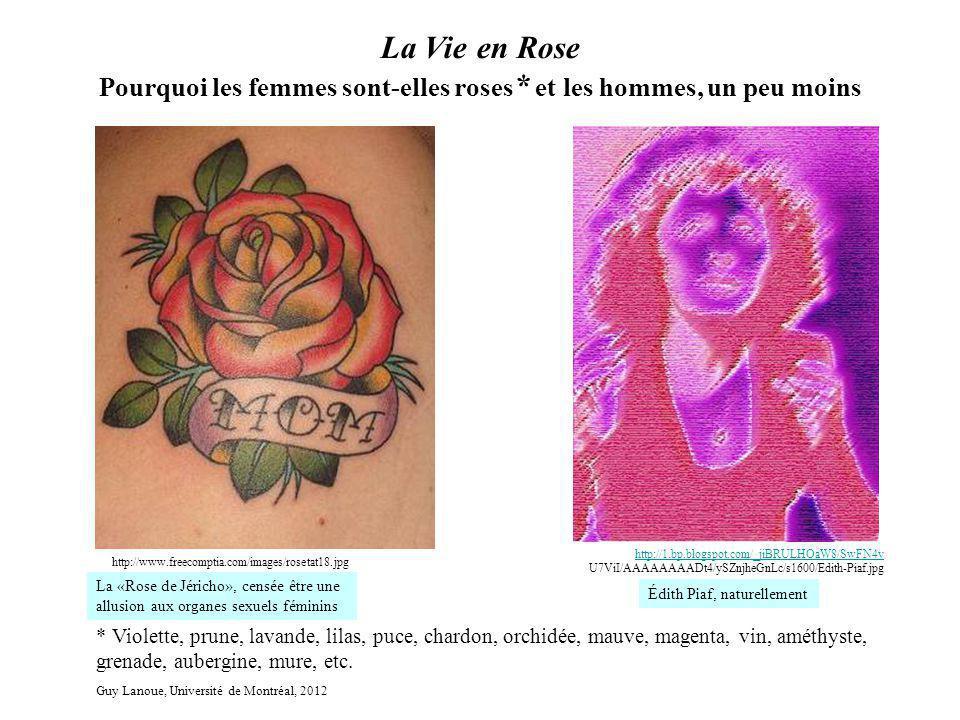 La Vie en Rose Pourquoi les femmes sont-elles roses * et les hommes, un peu moins http://www.freecomptia.com/images/rosetat18.jpg * Violette, prune, l