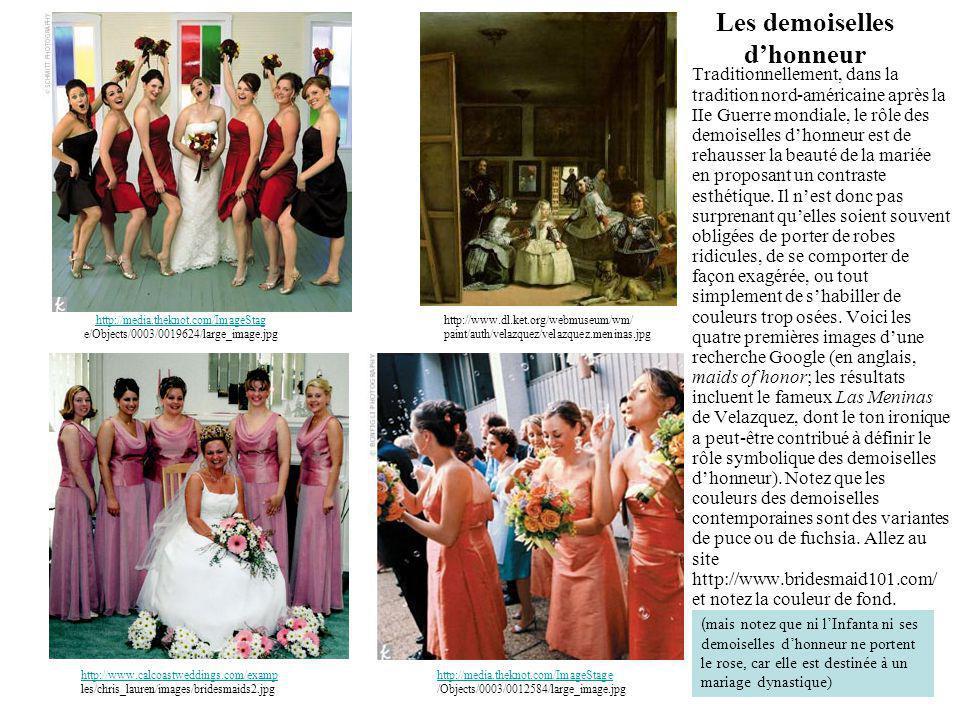 Les demoiselles d'honneur Traditionnellement, dans la tradition nord-américaine après la IIe Guerre mondiale, le rôle des demoiselles d'honneur est de