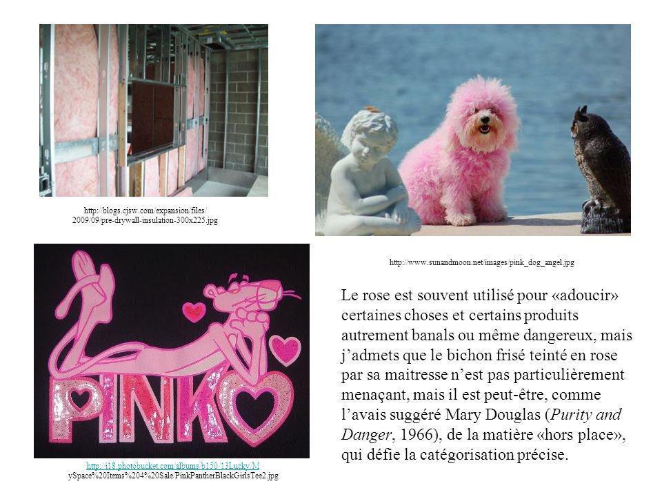 http://i18.photobucket.com/albums/b150/13Lucky/M http://i18.photobucket.com/albums/b150/13Lucky/M ySpace%20Items%204%20Sale/PinkPantherBlackGirlsTee2.jpg http://blogs.cjsw.com/expansion/files/ 2009/09/pre-drywall-insulation-300x225.jpg http://www.sunandmoon.net/images/pink_dog_angel.jpg Le rose est souvent utilisé pour «adoucir» certaines choses et certains produits autrement banals ou même dangereux, mais j'admets que le bichon frisé teinté en rose par sa maitresse n'est pas particulièrement menaçant, mais il est peut-être, comme l'avais suggéré Mary Douglas (Purity and Danger, 1966), de la matière «hors place», qui défie la catégorisation précise.