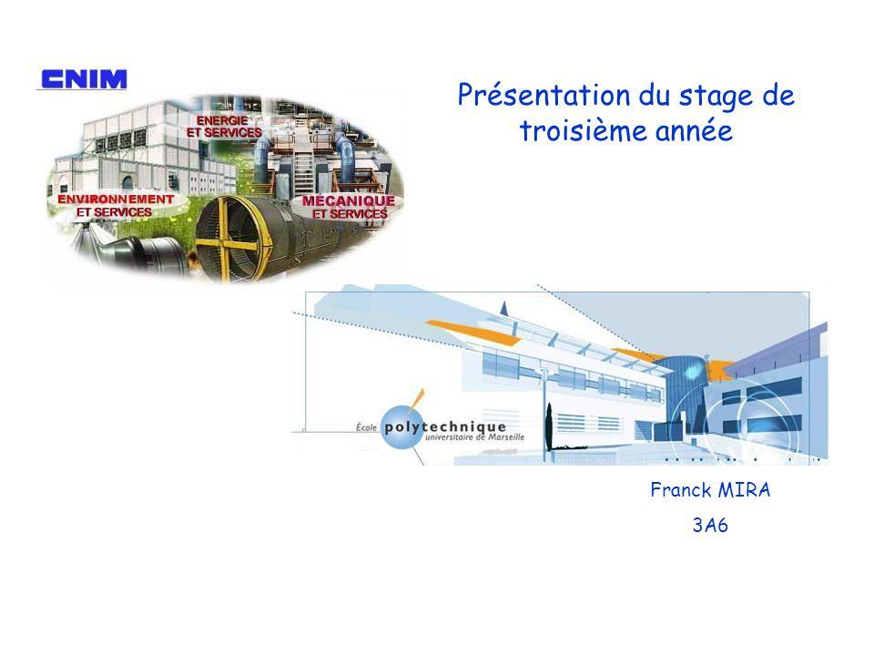 Présentation du stage de troisième année Franck MIRA 3A6