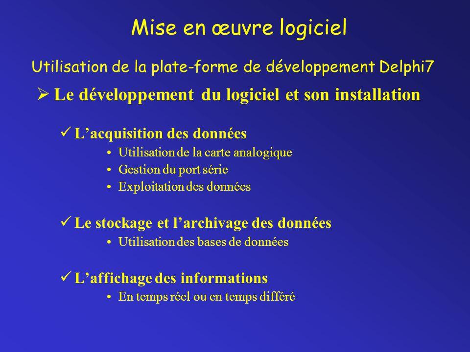 Mise en œuvre logiciel  Le développement du logiciel et son installation L'acquisition des données Utilisation de la carte analogique Gestion du port