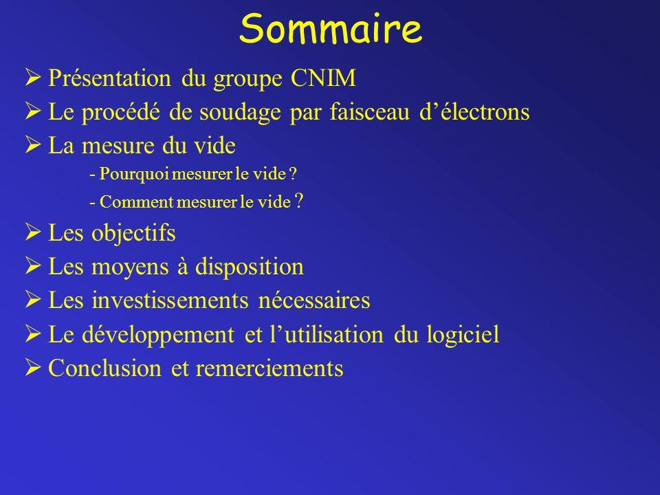 Sommaire  Présentation du groupe CNIM  Le procédé de soudage par faisceau d'électrons  La mesure du vide - Pourquoi mesurer le vide ? - Comment mes