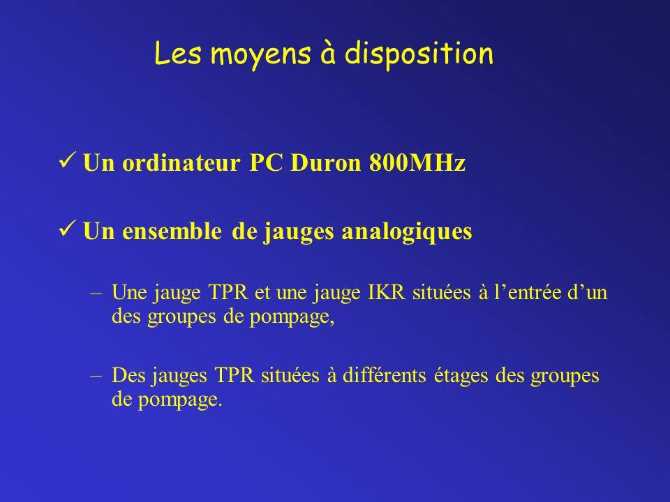 Les moyens à disposition Un ordinateur PC Duron 800MHz Un ensemble de jauges analogiques –Une jauge TPR et une jauge IKR situées à l'entrée d'un des groupes de pompage, –Des jauges TPR situées à différents étages des groupes de pompage.