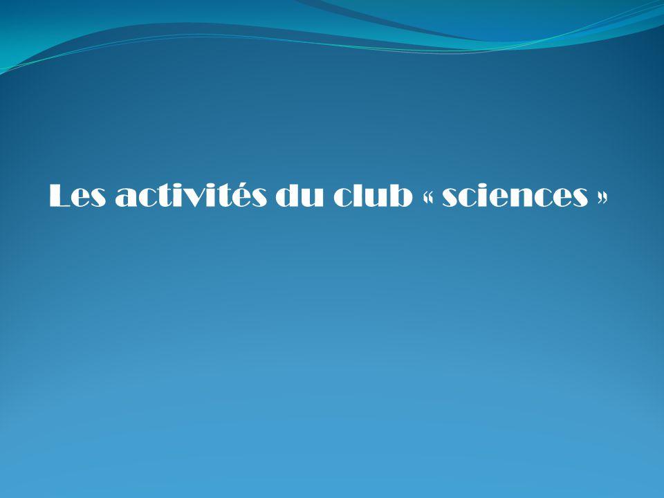 Les activités du club « sciences »