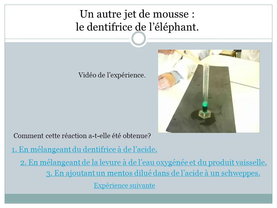 Un autre jet de mousse : le dentifrice de l'éléphant. Vidéo de l'expérience. Comment cette réaction a-t-elle été obtenue? 1. En mélangeant du dentifri