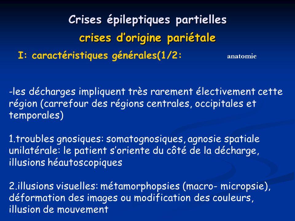 Crises épileptiques partielles crises d'origine pariétale I: caractéristiques générales(1/2: -les décharges impliquent très rarement électivement cette région (carrefour des régions centrales, occipitales et temporales) 1.troubles gnosiques: somatognosiques, agnosie spatiale unilatérale: le patient s'oriente du côté de la décharge, illusions héautoscopiques 2.illusions visuelles: métamorphopsies (macro- micropsie), déformation des images ou modification des couleurs, illusion de mouvement anatomie