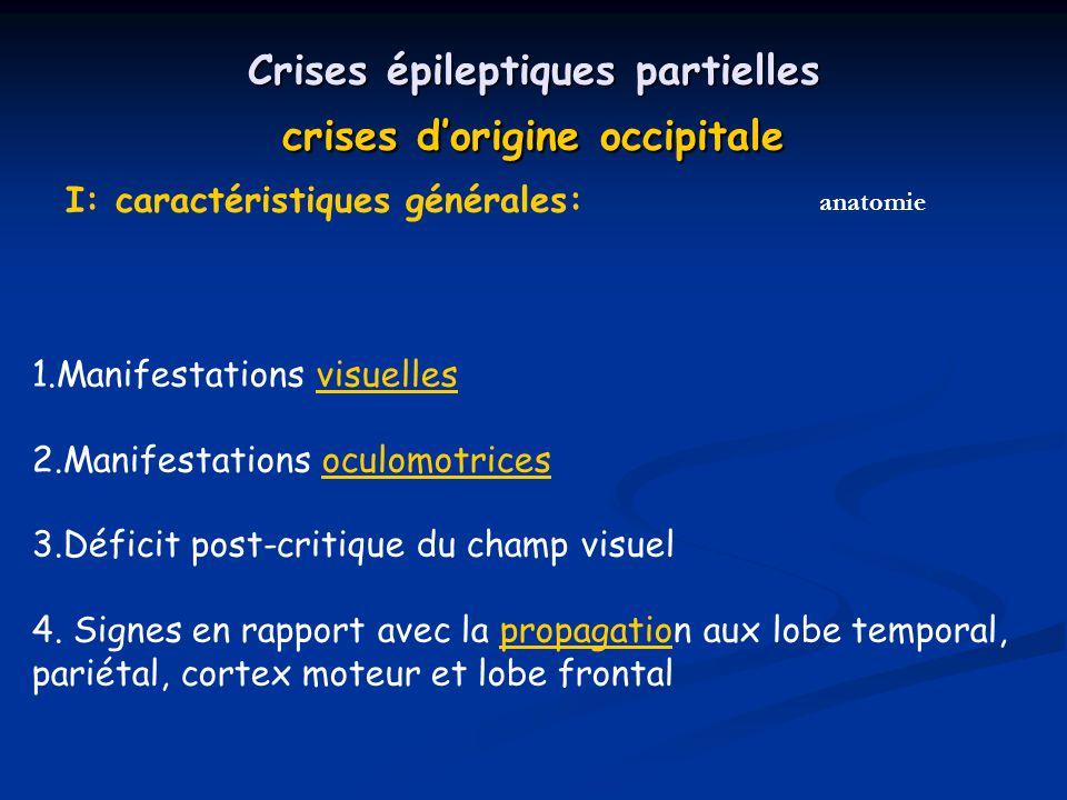Crises épileptiques partielles crises d'origine occipitale I: caractéristiques générales: 1.Manifestations visuellesvisuelles 2.Manifestations oculomotricesoculomotrices 3.Déficit post-critique du champ visuel 4.