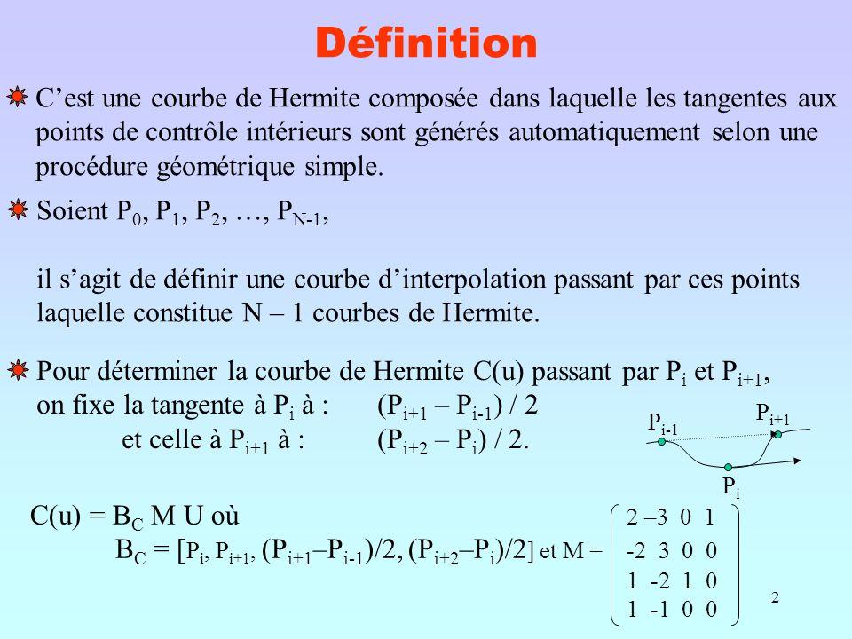 2 Définition C'est une courbe de Hermite composée dans laquelle les tangentes aux points de contrôle intérieurs sont générés automatiquement selon une procédure géométrique simple.